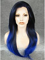24''coaplay imstyle dentelle synthétique longue ligne droite naturelle bleu perruques avant
