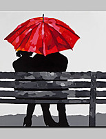Hand Painted Lovers Who Sat On The Bench Oil Painting On Canvas Modern Wall Art For Home Decor With Stretched Frame Ready To Hang