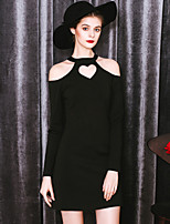 MASKED QUEEN Women's Going out Street chic Little Black DressSolid Halter Above Knee Long Sleeve Black