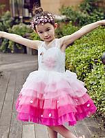 De Baile Até os Joelhos Vestido para Meninas das Flores - Tule Sem Mangas Decote V com Miçangas / Lantejoulas