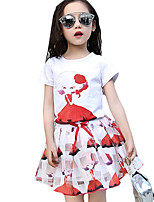 Girl's Casual/Daily Print Dress / Clothing SetCotton Summer Blue / Red