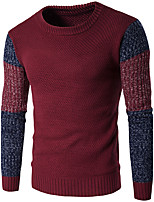 Мужчины На каждый день Простое Обычный Пуловер Контрастных цветов,Синий / Красный / Оранжевый Круглый вырез Длинный рукав ШерстьОсень /