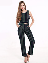 1287 Women's Going out / Casual/Daily Vintage All Seasons Tank Top PantStriped Round Neck Sleeveless Blue Cotton