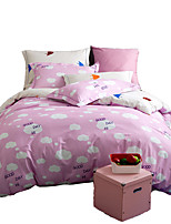 Novelty Duvet Cover Sets 4 Piece Cotton cartoon Quilted Cotton Twin / Full / Queen / King 1pc Duvet Cover / 2pcs Shams / 1pc Flat Sheet