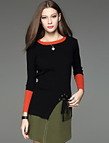 Women's Casual/Daily Simple Skirt Suits,Color Block Round Neck Long Sleeve Black Cotton / Acrylic