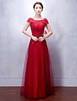 Formal Evening Dress A-line Scoop Floor-length Tulle with Appliques / Lace