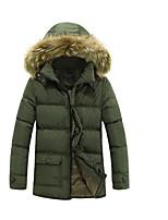Пальто Простое Обычная Пуховик Мужчины,Однотонный На каждый день Полиэстер Полипропилен,Длинный рукав Капюшон Черный / Зеленый