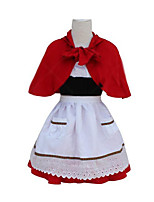 Christmas Costume /Holiday Halloween Costumes Red & White Solid Skirt / Apron / Cloak Christmas Female Linen