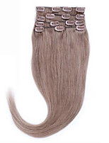 14-26 100% Ash Brown #8 Natural Human Hair Straight Clip In Human Hair Remy Virgin Hair Extensions 8A Beautiful Forever