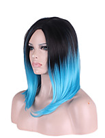 Trendy Allaring Teal Blue Mixed Black Color Scene Girls Wigs Personality Natural Looking High Quality Synthetic Wigs