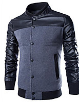 Men's Casual/Daily Simple JacketsColor Block Stand Long Sleeve Spring / Fall Black / Gray Cotton Medium