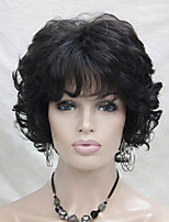 New Wavy Curly Medium Brown 4# Short Synthetic Hair Full Women's  Wig For Everyday