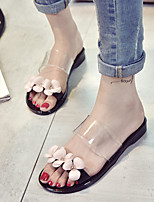 Women's Sandals Summer Comfort Leatherette Casual Flat Heel Flower Black / Pink Others