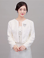 Women's Wrap Shrugs Long Sleeve Faux Fur Ivory / Red Wedding / Party/Evening Scoop 41cm Rhinestone Hidden Clasp