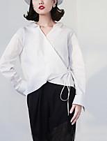 Chemise Femme,Couleur Pleine Décontracté / Quotidien Vintage Automne Manches Longues Col en V Blanc Coton Moyen
