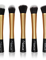 5 Makeup Brushes Set Nylon Professional / Portable Metal Face / Eye Gloden