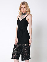 1287 Women's Solid Black / Brown JumpsuitsSexy Strap Sleeveless