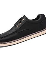 Men's Sneakers Spring Fall Comfort PU Casual Flat Heel Lace-up Black Brown Green