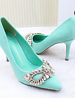 Women's Heels Spring / Summer / Fall Comfort Casual Stiletto Heel Crystal Black / Green / Pink Walking