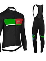 QKI Black Cycling Jersey with Bib long Tights Long Sleeve Bike Breathable / Quick Dry / Anatomic Design / Front Zipper / 3D coolmax gel pad
