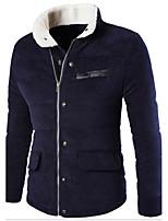 Пальто Винтаж / Простое Обычная На подкладке Мужчины,Однотонный На каждый день / Нарядная / Большие размеры Хлопок / Акрил / Полиэстер