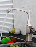 Deck Mounted Pullout Spray with Ceramic Valve Single Handle One Hole for Nickel Brushed , Kitchen