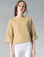 Women's Going out / Casual/Daily / Holiday Simple / Street chic Regular Pullover,Solid Blue / White / Beige Boat Neck ¾ Sleeve CottonFall