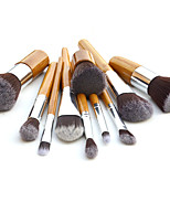 11 Makeup Brushes Set Synthetic Hair Professional / Portable Wood Handle Face/Eye/Lip
