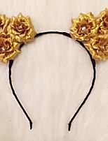acendem-se as orelhas de gato headband da flor levou subiu cabeça headbandkitty dia das bruxas giftchristmas ideia do presente da festa de