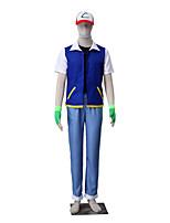Inspirovaný Pocket Little Monster Ash Ketchum Anime Cosplay kostýmy Cosplay šaty Jednobarevné Kabát Vesta Kalhoty Klobouk Rukavice Pro