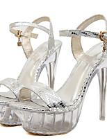 Women's Sandals Summer Platform PU Wedding Dress Party & Evening Stiletto Heel Platform Crystal Heel Buckle Silver Gold Other