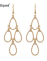 Gold/Hemitate/Black/Rose Gold/Silver Teardrop-Shaped With Crystal Hook Drop Earring