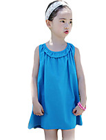 Girl's Going out Solid Dress,Cotton / Others Summer Blue / Yellow