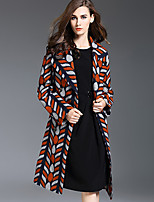 Women's Plus Size / Casual/Daily Simple Trench Coat,Color Block Notch Lapel Long Sleeve Fall / Winter Orange Wool / Acrylic / Polyester