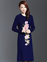 AINIER Women's Casual/Daily Chinoiserie Tunic DressEmbroidered Round Neck Knee-length Long Sleeve Blue Others Fall Mid Rise Micro-elastic Thin