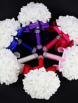 Wedding Flowers Round Roses Bouquets Wedding Satin Foam Rhinestone 7.09