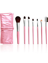 5 Makeup Brushes Set Horse Hair Professional / Portable Plastic Handle Face/Eye / Lip Pink