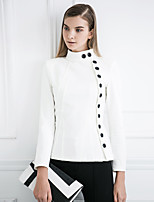 MASKED QUEEN Women's Formal Simple JacketsSolid Stand Long Sleeve Fall / Winter White / Black Cotton