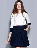 Women's Casual/Daily Street chic Fall Skirt Suits,Color Block Round Neck ¾ Sleeve White Polyester