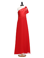 Lanting Bride® Floor-length Chiffon Junior Bridesmaid Dress Sheath / Column One Shoulder with Bow(s)