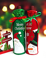 1pcs Christmas Wine Bottle Favor Bag Xmas Ornaments Santa Claus Party Supplies 8.5 x 8.5 x 30 cm/pcs