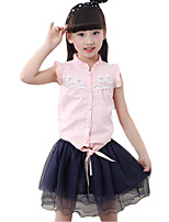 Girl's Casual/Daily Solid Dress / Clothing SetCotton Spring / Fall Pink / White