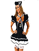 Cosplay Costumes Uniforms Halloween White / Black Print Cotton Dress / Hat