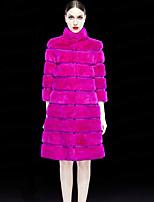 SJU Women's Casual/Daily Simple Fur CoatSolid Turtleneck Long Sleeve Winter Multi-color Rex Rabbit Fur Thick