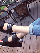 Unisex Sandals Summer Comfort PU Casual Flat Heel Buckle Black Black and White Others