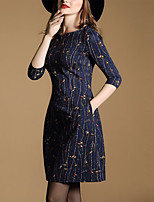 Women's Plus Size / Going out Vintage Sheath DressPrint V Neck Above Knee  Sleeve Blue Polyester Fall Mid Rise
