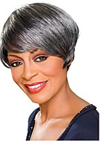 Short Hair Black and Grey Mixed Color Synthetic Wigs for Women