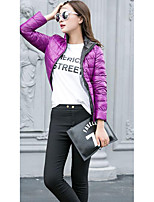 Women's Down Coat,Simple Casual/Daily Solid-Polyester White Duck Down Long Sleeve Stand Blue / Black / Purple