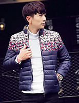 Men's Padded Coat,Simple Plus Size / Casual/Daily Print-Polyester White Duck Down Long Sleeve Blue / Red