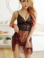 Women Chemises & Gowns Nightwear,Sexy Solid-Thin Lace Spandex Black